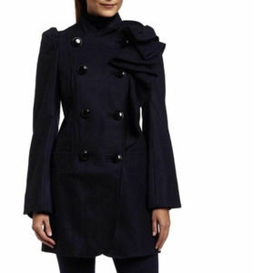 FRENCH CONNECTION | Navy Blue Wool Ruffle Peacoat